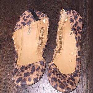 Travel ballet flats shoes leopard